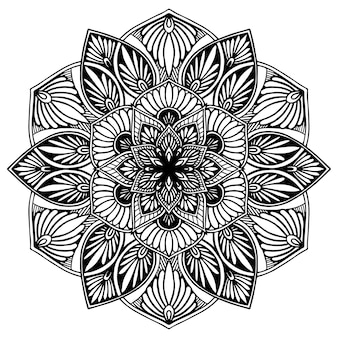 Mandala de flor redonda para henna isolada no branco