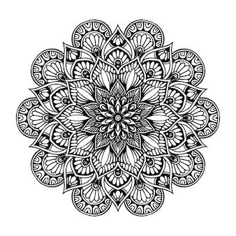 Mandala de flor redonda para tatuagem, henna. elementos decorativos vintage. oriental