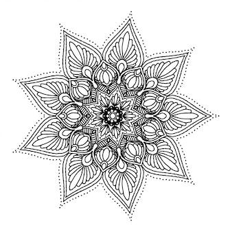 Mandala de flor redonda para tatuagem, henna. elementos decorativos vintage.