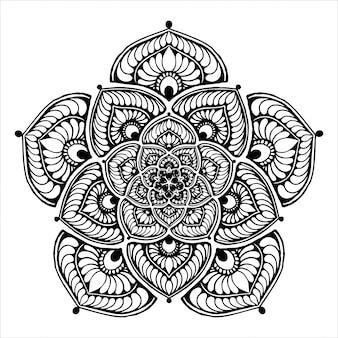 Mandala de flor redonda para tatuagem, henna, livro para colorir, decorativo.