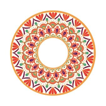 Mandala de flores com elementos decorativos vintage padrão oriental