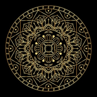 Mandala de gradiente dourado de vetor