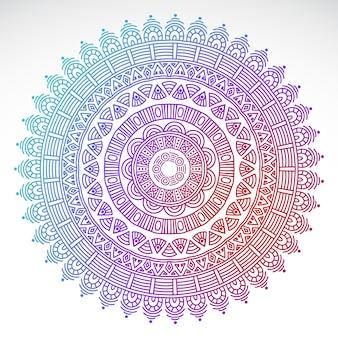 Mandala de gradiente redondo em fundo branco isolado