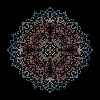 Mandala de gradiente redondo isolada. vector boho mandala mandala com desenho floral