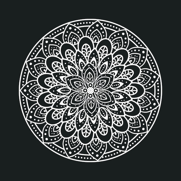 Mandala de luxo branca em fundo escuro, mandala de luxo vintage, decoração ornamental