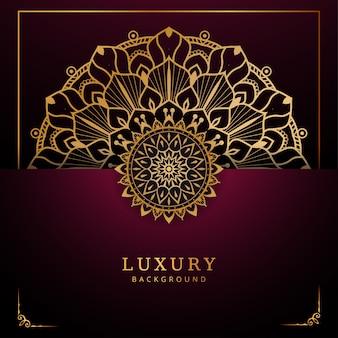 Mandala de luxo com decoração arabesco dourada