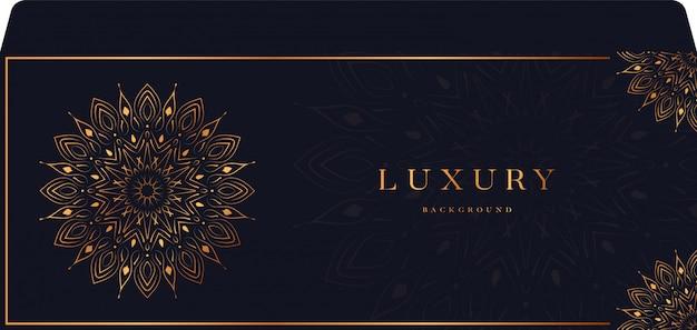 Mandala de luxo com envelope de estilo islâmico árabe de arabesco dourado