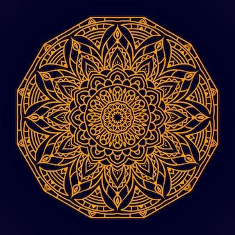 Mandala de luxo com estilo de padrão de arabesco dourado para convite de casamento