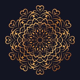 Mandala de luxo com estilo islâmico árabe de design arabesco dourado