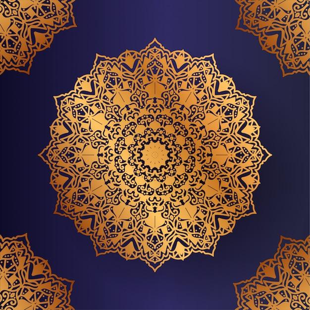 Mandala de luxo com fundo dourado estilo islâmico árabe