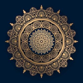 Mandala de luxo com padrão islâmico dourado