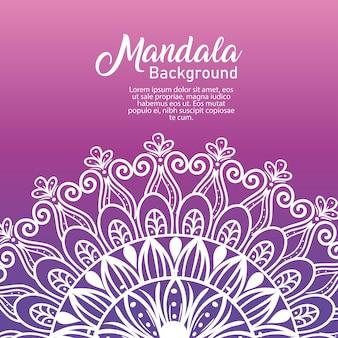 Mandala de luxo de flor branca de fundo em fundo roxo, mandala de luxo vintage, decoração ornamental