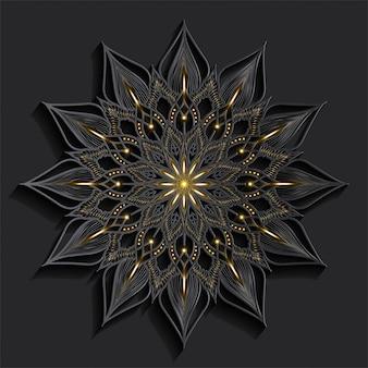Mandala de luxo efeito 3d