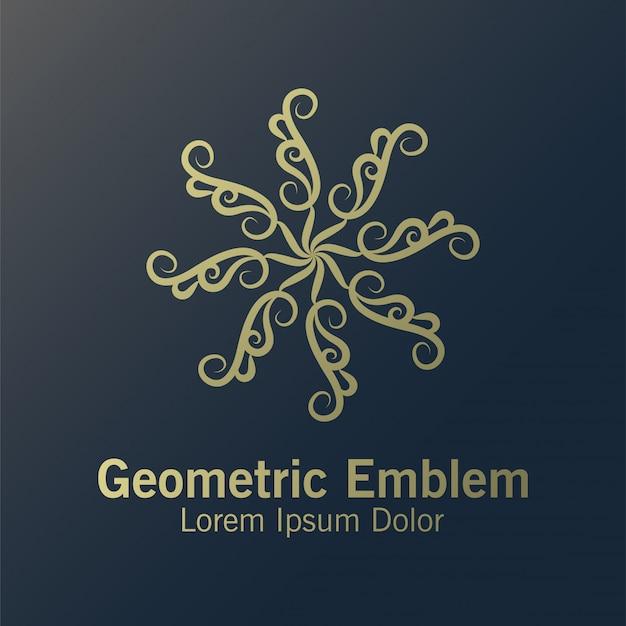 Mandala de luxo, modelo de emblema geométrico