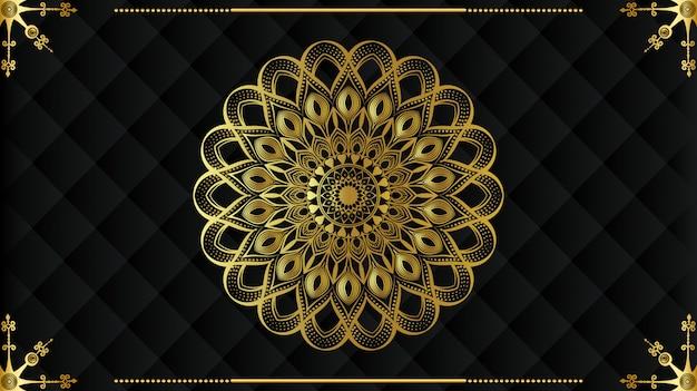 Mandala de luxo moderno com padrão de arabesco dourado estilo islâmico real árabe
