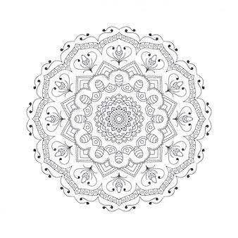 Mandala de mão desenhada flor para livro de colorir.