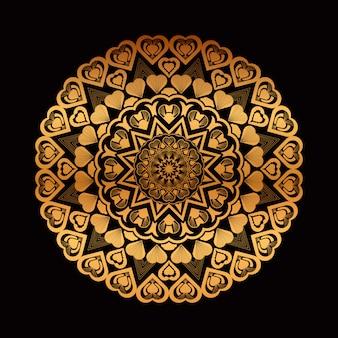 Mandala de mão dourada desenhada com corações