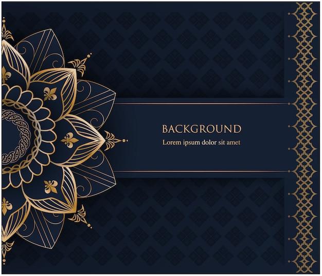 Mandala de ornamento dourado e lugar para texto em fundo azul marinho