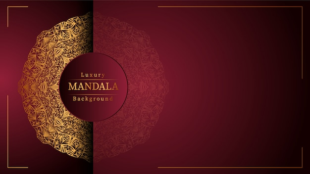Mandala de ouro com fundo vermelho