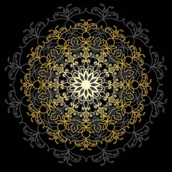 Mandala de ouro fofa. flor de doodle redonda ornamentais isolada no fundo branco. ornamento decorativo geométrico em estilo oriental étnico. Vetor Premium