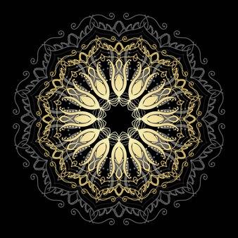 Mandala de ouro fofa. flor de doodle redonda ornamentais isolada no fundo branco. ornamento decorativo geométrico em estilo oriental étnico.