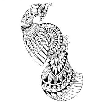 Mandala de pavão bonito zentangle estilo linear