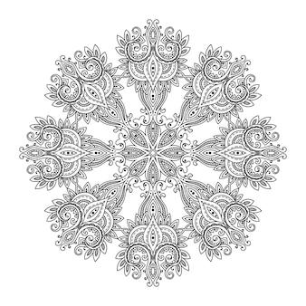 Mandala de renda redonda abstrata, elemento decorativo. estilo mehndi, ornamento oriental tradicional. ilustração para impressão, tatuagem