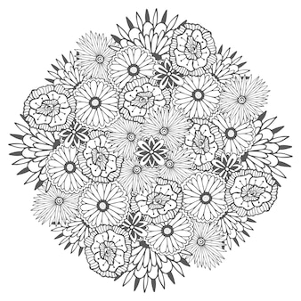 Mandala de vetores exclusivo com flores. zentangle floral redondo para páginas de colorir livro