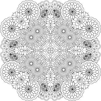 Mandala decorativa de contorno floral
