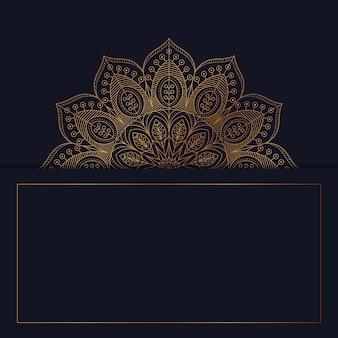 Mandala decorativa de luxo com fundo de moldura dourada em estilo oriental islâmico árabe