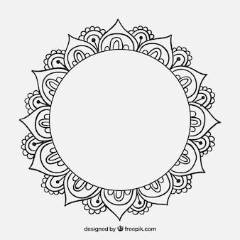 Mandala decorativa desenhada mão