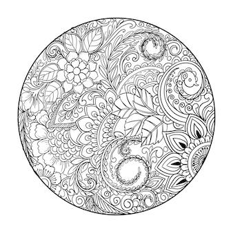 Mandala decorativa elegante com fundo floral