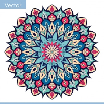 Mandala decorativa em cores rosa azuis