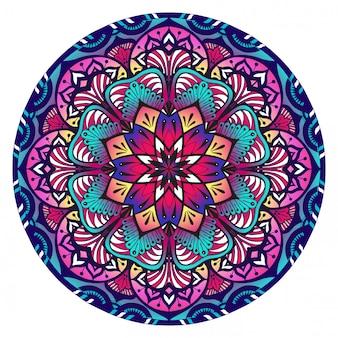 Mandala decorativa nas cores rosa e azuis violetas
