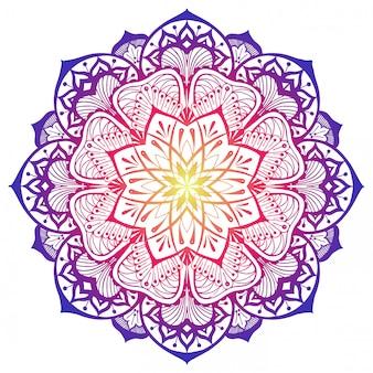 Mandala decorativa nas cores rosa e violeta amarelas