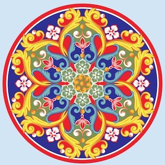 Mandala decorativa redonda étnica colorida. desenho arabesco oriental