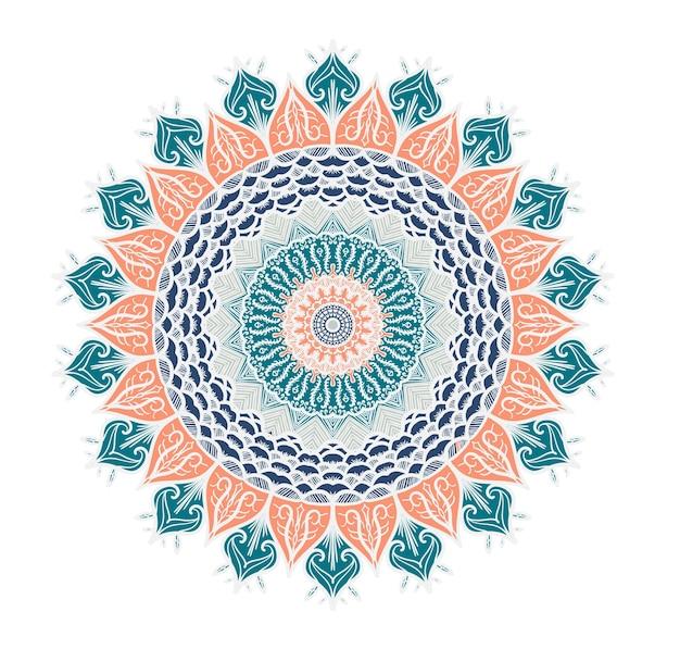 Mandala desenhada de mão em estilo de decoração de cultura árabe, indiano, islã e otomano. fundo ornamental geométrico étnico. modelo vintage mágico de saudação, cartão, impressão, pano, tatuagem. vetor