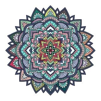 Mandala desenhada mão colorida