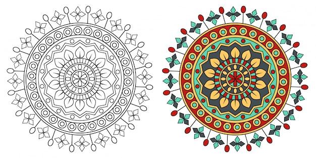 Mandala design coloring relaxante para adultos