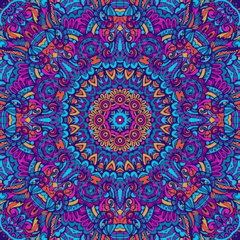 Mandala doodle fantasia de flor decorada com fundo