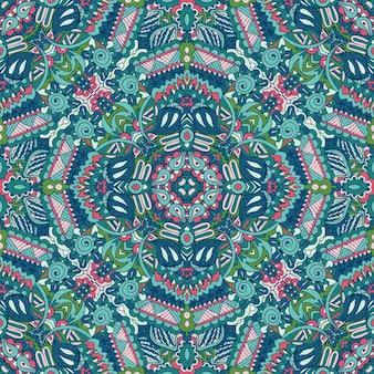 Mandala doodle linhas decoradas fundo. abstrato geométrico com azulejos boho étnico padrão sem emenda ornamental.