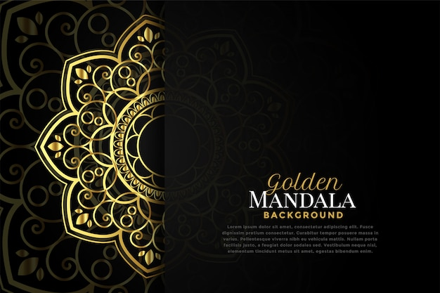 Mandala dourada bonita com espaço de texto