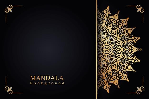 Mandala dourada com arabescos de fundo islâmico para o festival milad un nabi