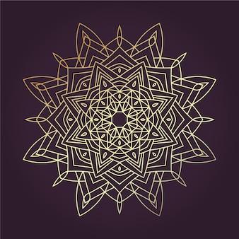 Mandala dourada de lineart