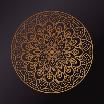 Mandala dourada em fundo escuro, mandala de luxo vintage, decoração ornamental