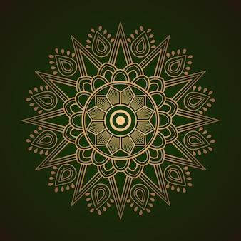 Mandala dourada sobre fundo verde abstrato
