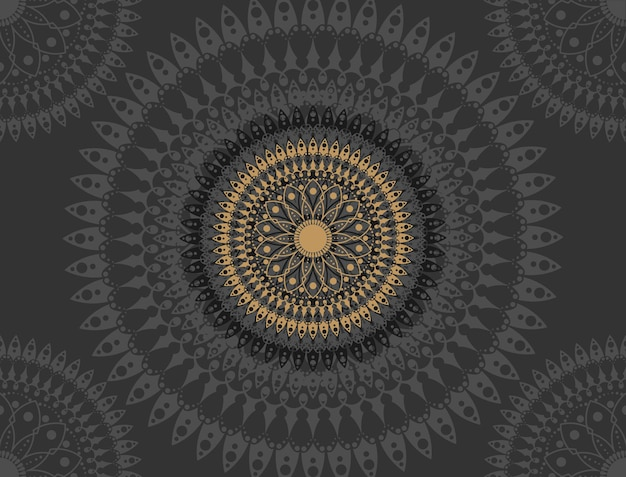 Mandala em fundo preto
