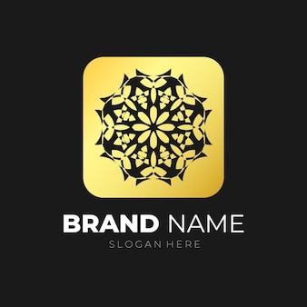 Mandala emblema logotipo ouro vetor