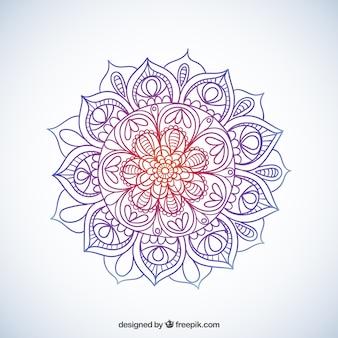 Mandala esboçado colorido