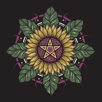 Mandala escura do sol flor e folha
